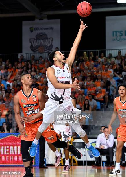 Tyler Harvey of the Hawks shoots during the round three NBL match between the Cairns Taipans and the Illawarra Hawks at Cairns Pop Up Arena, on...