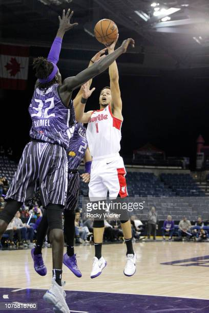Tyler Harvey of the Memphis Hustle shoots the ball against the Stockton Kings during a GLeague game on December 29 2018 in Stockton California NOTE...