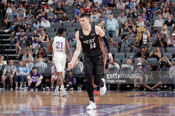 Tyler Herro of Miami Heat reacts to threepoint basket against the Los Angeles Lakers on July 1 2019 at the Golden 1 Center in Phoenix Arizona NOTE TO...