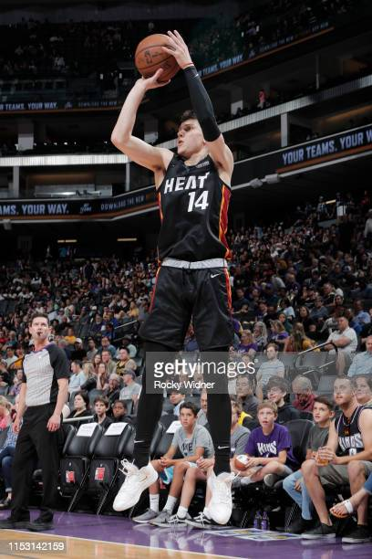 Tyler Herro of Miami Heat shoots a three point basket against the Los Angeles Lakers on July 1 2019 at the Golden 1 Center in Phoenix Arizona NOTE TO...