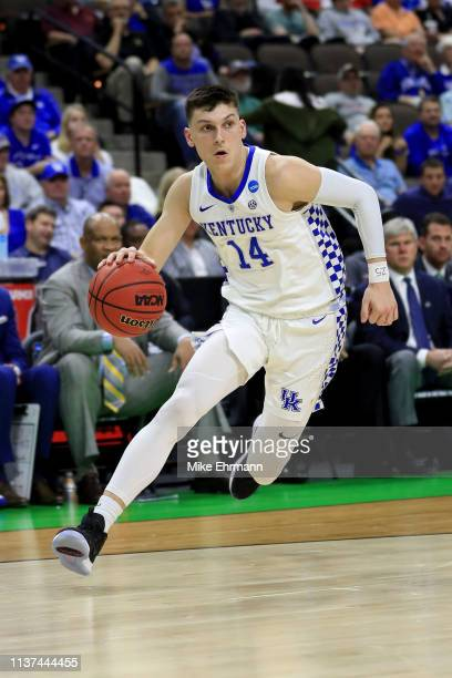Tyler Herro of the Kentucky Wildcats dribbles the ball in the second half against the Abilene Christian Wildcats during the first round of the 2019...
