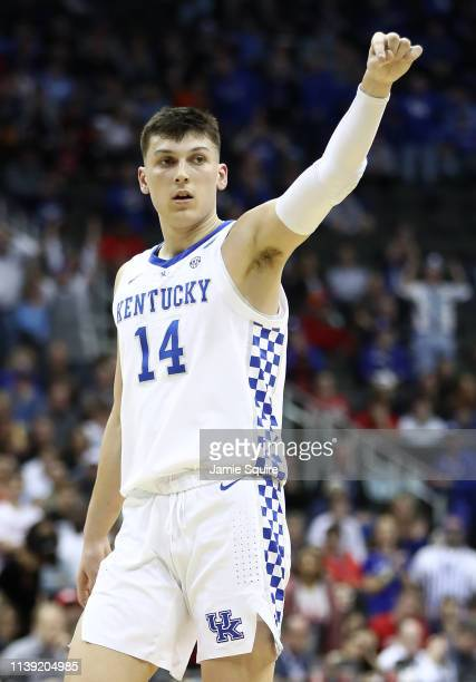 Tyler Herro of the Kentucky Wildcats reacts against the Houston Cougars during the 2019 NCAA Basketball Tournament Midwest Regional at Sprint Center...