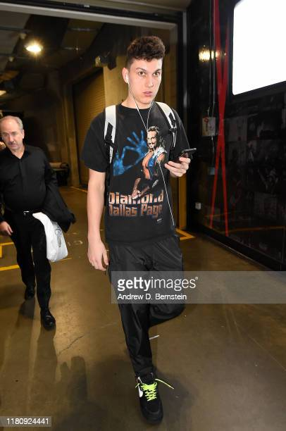 Tyler Herro of the Miami Heat arrives to the game against the Los Angeles Lakers on November 8 2019 at STAPLES Center in Los Angeles California NOTE...