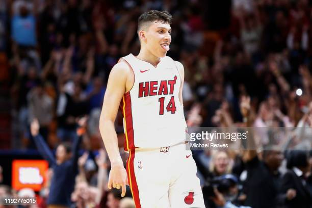 Tyler Herro of the Miami Heat celebrates after a three pointer in overtime against the Chicago Bulls at American Airlines Arena on December 08, 2019...