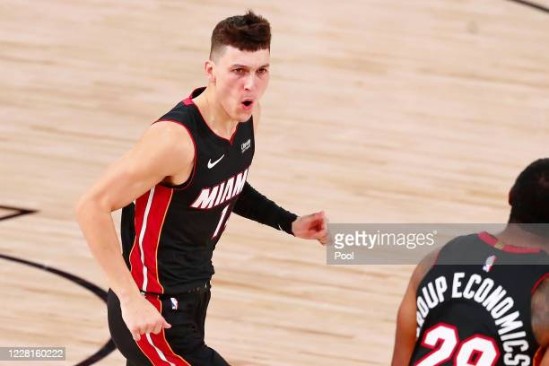 Tyler Herro of the Miami Heat celebrates after making a three point basket against the Indiana Pacers during the second half of Game 3 of an NBA...