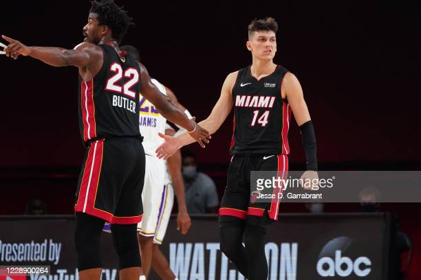 Tyler Herro of the Miami Heat celebrates during Game Three of the NBA Finals against the Los Angeles Lakers on October 4, 2020 in Orlando, Florida at...