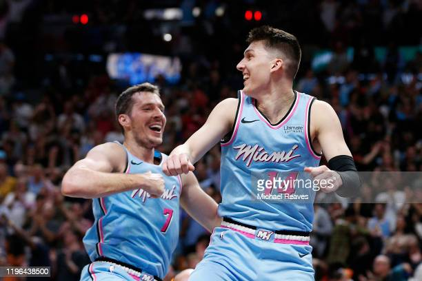 Tyler Herro of the Miami Heat celebrates with Goran Dragic after making a three pointer with 6.9 seconds remaining in regulation against the...