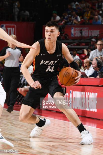 Tyler Herro of the Miami Heat dribbles the ball during the game against China during Day 1 of the 2019 Las Vegas Summer League on July 5 2019 at the...