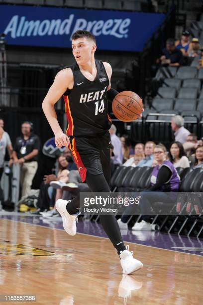 Tyler Herro of the Miami Heat dribbles the ball during the game against the Golden State Warriors during Day 3 of the 2019 California Classic on July...