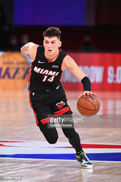 Tyler Herro of the Miami Heat drives to the basket against the Boston Celtics during Game Four of the Eastern Conference Finals on September 23, 2020...
