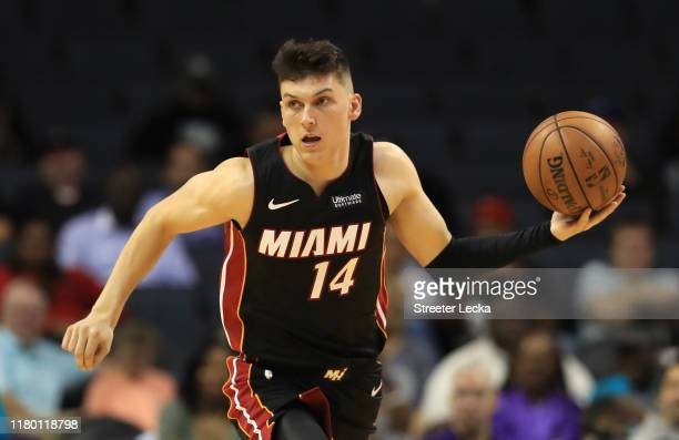 Tyler Herro of the Miami Heat during their game against the Charlotte Hornets at Spectrum Center on October 09, 2019 in Charlotte, North Carolina....