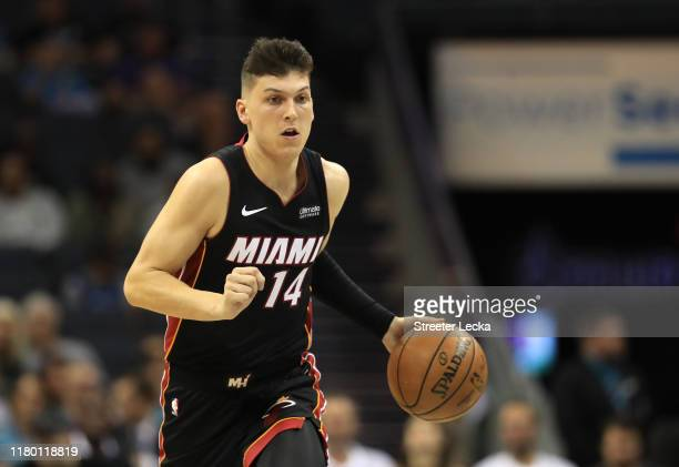 Tyler Herro of the Miami Heat during their game against the Charlotte Hornets at Spectrum Center on October 09 2019 in Charlotte North Carolina NOTE...