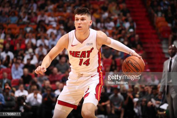 Tyler Herro of the Miami Heat handles the ball against the Atlanta Hawks on October 29, 2019 at American Airlines Arena in Miami, Florida. NOTE TO...
