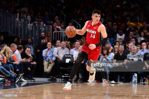 Tyler Herro of the Miami Heat handles the ball against the Denver Nuggets on November 5, 2019 at the Pepsi Center in Denver, Colorado. NOTE TO USER:...