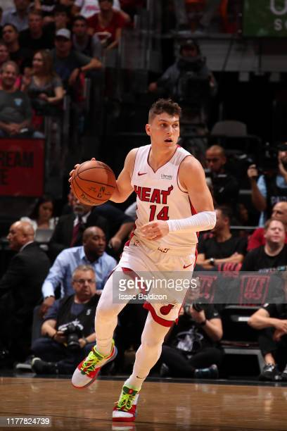 Tyler Herro of the Miami Heat handles the ball against the Memphis Grizzlies on October 23 2019 at American Airlines Arena in Miami Florida NOTE TO...