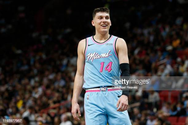 Tyler Herro of the Miami Heat in action against the Los Angeles Lakers during the first half at American Airlines Arena on December 13, 2019 in...