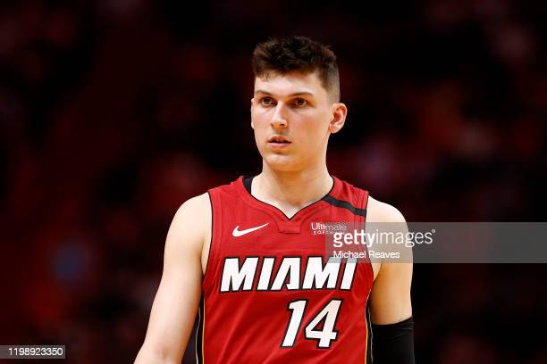 Tyler Herro of the Miami Heat looks on against the Portland Trail Blazers during the first half at American Airlines Arena on January 05, 2020 in...