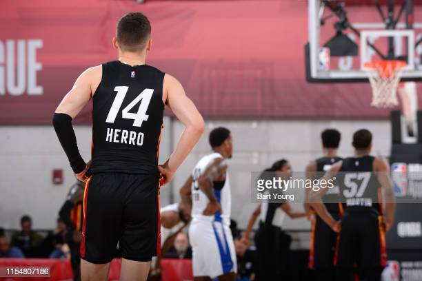 Tyler Herro of the Miami Heat looks on during the game against the Orlando Magic on July 9 2019 at the Cox Pavilion in Las Vegas Nevada NOTE TO USER...