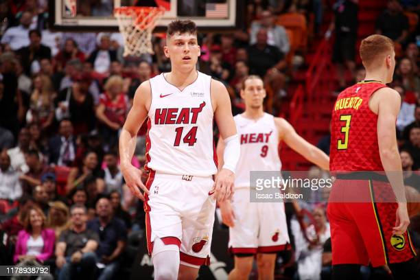 Tyler Herro of the Miami Heat looks on during the game against the Atlanta Hawks on October 29, 2019 at American Airlines Arena in Miami, Florida....