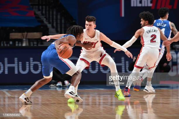 Tyler Herro of the Miami Heat plays defense during the game against the Philadelphia 76ers on January 12, 2021 at the Wells Fargo Center in...