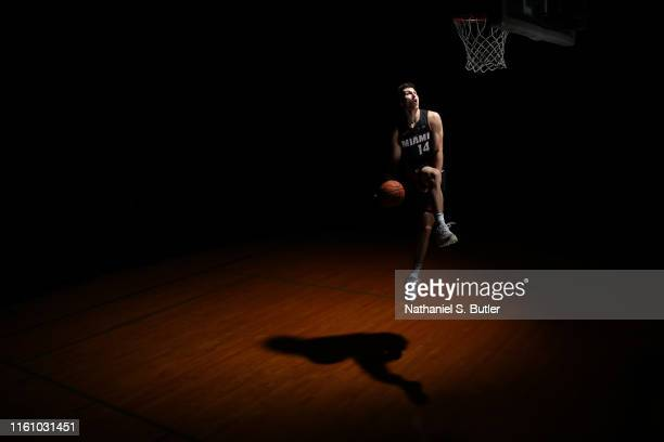 Tyler Herro of the Miami Heat poses for a portrait during the 2019 NBA Rookie Photo Shoot on August 11 2019 at Fairleigh Dickinson University in...