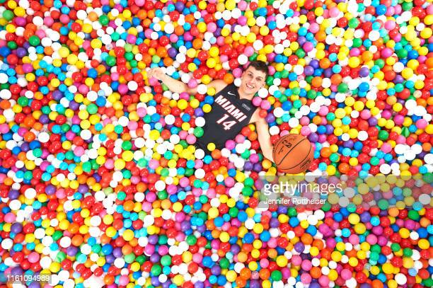 Tyler Herro of the Miami Heat poses for a portrait during the 2019 NBA Rookie Photo Shoot on August 11 2019 at the Fairleigh Dickinson University in...