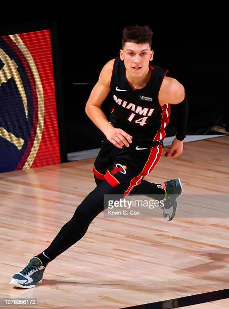 Tyler Herro of the Miami Heat reacts after a lay-up during the fourth quarter against the Boston Celtics in Game Four of the Eastern Conference...