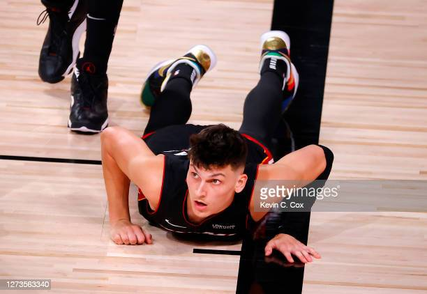 Tyler Herro of the Miami Heat reacts after being fouled during the second quarter against the Boston Celtics in Game Three of the Eastern Conference...