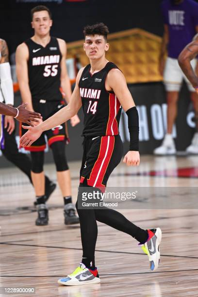 Tyler Herro of the Miami Heat reacts during Game Three of the NBA Finals on October 4, 2020 at the AdventHealth Arena at ESPN Wide World Of Sports...