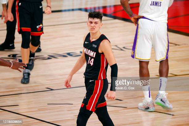 Tyler Herro of the Miami Heat reacts during the fourth quarter against the Los Angeles Lakers in Game Three of the 2020 NBA Finals at AdventHealth...