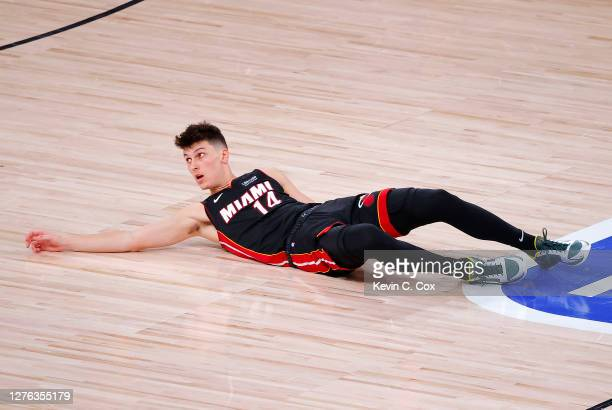 Tyler Herro of the Miami Heat reacts to a foul during the fourth quarter against the Boston Celtics in Game Four of the Eastern Conference Finals...