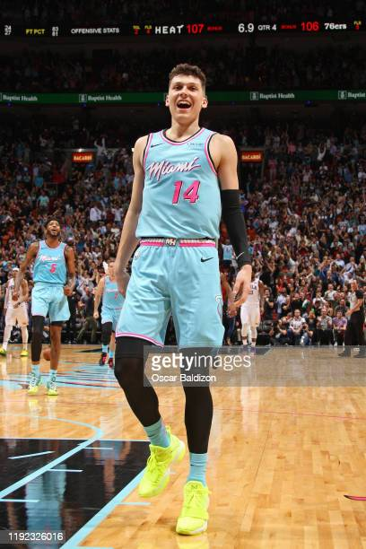 Tyler Herro of the Miami Heat reacts to play against the Philadelphia 76ers on December 28, 2019 at American Airlines Arena in Miami, Florida. NOTE...
