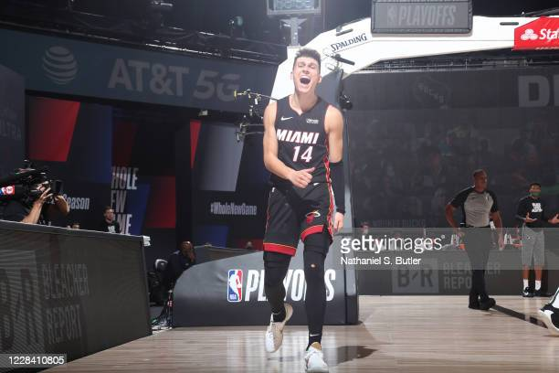 Tyler Herro of the Miami Heat reacts to play during Game Five of the Eastern Conference SemiFinals of the NBA Playoffs on September 8 2020 at The...