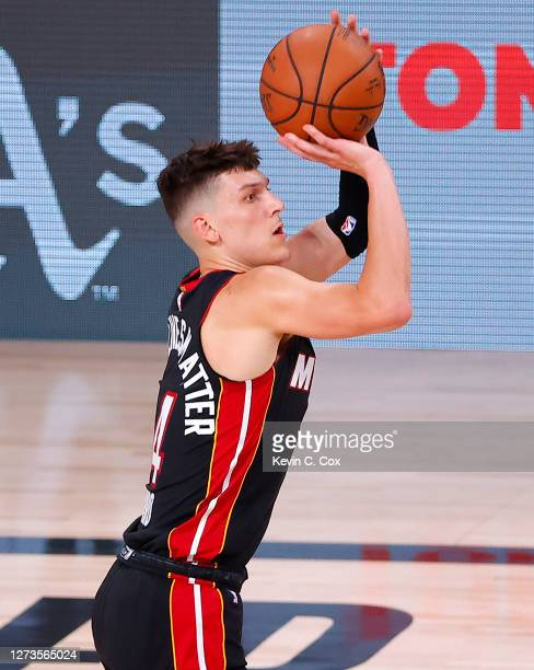 Tyler Herro of the Miami Heat shoots a three point basket during the second quarter against the Boston Celtics in Game Three of the Eastern...