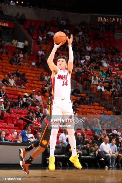 Tyler Herro of the Miami Heat shoots the ball against the Atlanta Hawks during a preseason game on October 14 2019 at American Airlines Arena in...