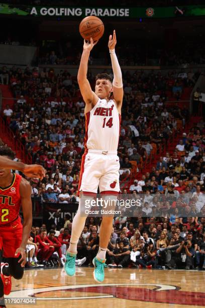 Tyler Herro of the Miami Heat shoots the ball against the Atlanta Hawks on October 29 2019 at American Airlines Arena in Miami Florida NOTE TO USER...
