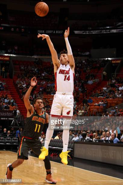 Tyler Herro of the Miami Heat shoots the ball against the Miami Heat during a preseason game on October 14 2019 at American Airlines Arena in Miami...