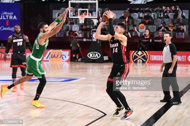 Tyler Herro of the Miami Heat shoots three point basket against the Boston Celtics during Game Three of the Eastern Conference Finals of the NBA...