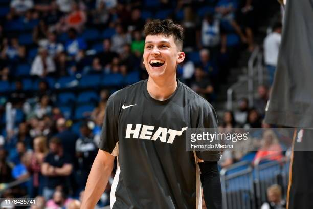 Tyler Herro of the Miami Heat smiles prior to a preseason game against the Orlando Magic on October 17 2019 at Amway Center in Orlando Florida NOTE...