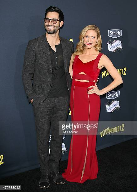 Tyler Hoechlin and Brittany Snow attend the 'Pitch Perfect 2' Los Angeles premiere held at the Nokia Theatre LA Live on May 8 2015 in Los Angeles...