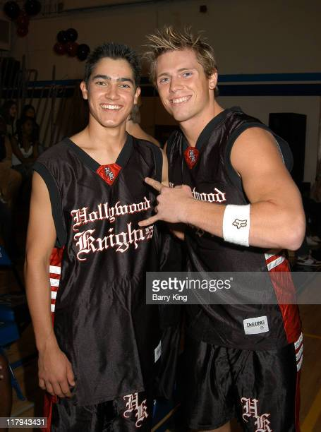 Tyler Hoechlin and Mike Mizanin during Hollywood Knights Charity Basketball Game at Walnut High School in Walnut California United States