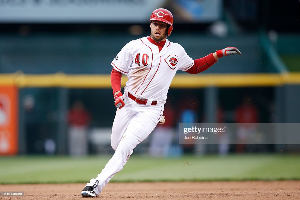 Tyler Holt #40 of the Cincinnati Reds runs the bases against the Philadelphia Phillies during the opening day game at Great American Ball Park on April 4, 2016 in Cincinnati, Ohio. The Reds defeated the Phillies 6-2.