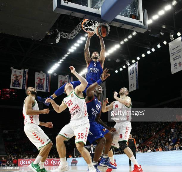 Tyler Honeycutt #2 of Anadolu Efes Istanbul in action during the 2016/2017 Turkish Airlines EuroLeague Regular Season Round 23 game between Anadolu...
