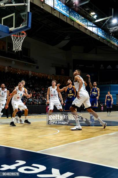 Tyler Honeycutt #2 of Moscow Khimki shoots a free throw during the 2017/2018 Turkish Airlines EuroLeague Regular Season Round 17 game between Khimki...