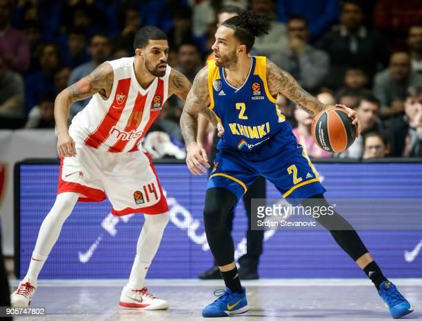 Tyler Honeycutt of Khimki in action against James Feldeine of Crvena Zvezda during the 2017/2018 Turkish Airlines EuroLeague Regular Season Round 18...