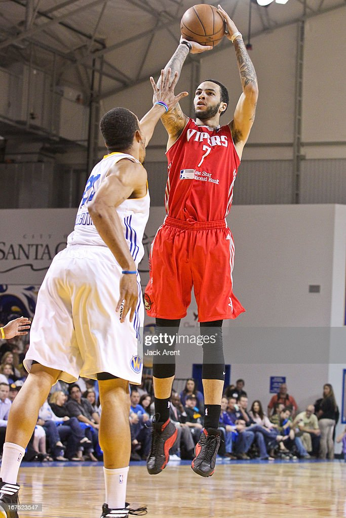 Tyler Honeycutt #7 of the Rio Grande Valley Vipers shoots against Lance Goulbourne #24 of the Santa Cruz Warriors during Game One of the D-League Championship on April 25, 2013 at Kaiser Permanente Arena in Santa Cruz, California.