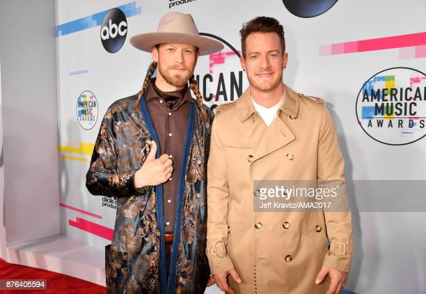 Tyler Hubbard and Biran Kelley attend the 2017 American Music Awards at Microsoft Theater on November 19 2017 in Los Angeles California