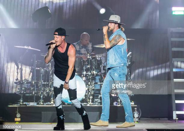 Tyler Hubbard and Brian Kelley of Florida Georgia Line perform at Faster Horses Festival at Michigan International Speedway on July 22 2018 in...
