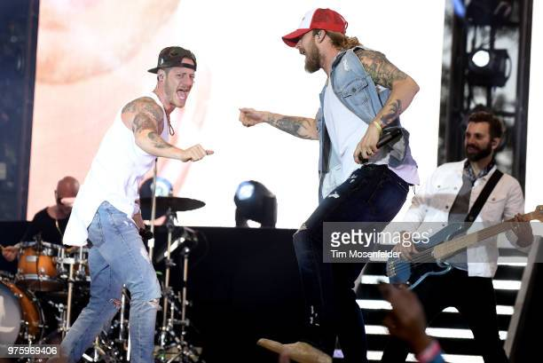 Tyler Hubbard and Brian Kelley of Florida Georgia Line perform during the 2018 Country Summer Music Festival at Sonoma County Fairgrounds on June 15...