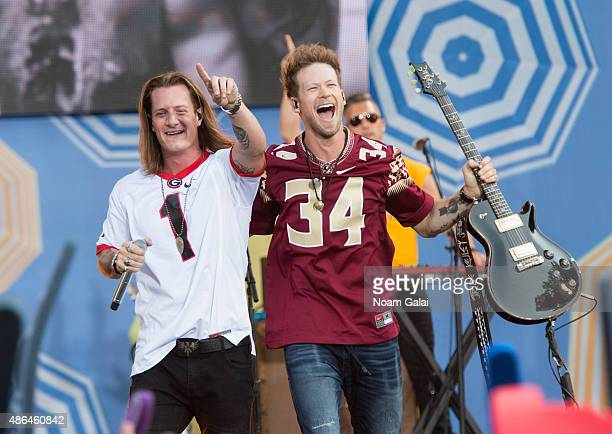 Tyler Hubbard and Brian Kelley of Florida Georgia Line perform on ABC's Good Morning America at Rumsey Playfield Central Park on September 4 2015 in...